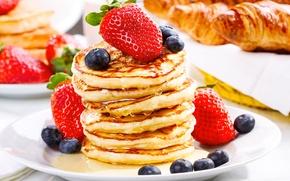 Picture berries, blueberries, strawberry, honey, pancakes, croissants, pancakes, pancakes