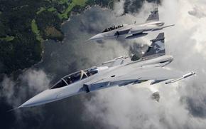 Picture flight, landscape, fighters, pair, Gripen, JAS 39