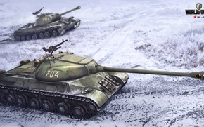 Picture winter, field, snow, figure, art, tank, heavy, Soviet, World of Tanks, is-3, Nikita Bolyakov