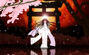 Picture night, kimono, Enma Ai, Hell Girl, Jigoku Shoujo, hell girl, vision, sacred gate