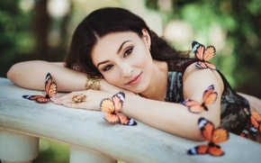 Picture girl, decoration, butterfly, smile, makeup, brunette, blouse, Diana Lipkina