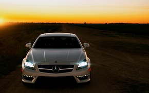 Picture road, sunset, Mercedes, CLS63