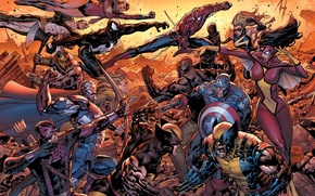 Picture captain America, spider-man, Wolverine, new Avengers, Luke cage, female spider