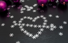 Wallpaper sequins, holiday, heart, Christmas, snowflakes, new year, new year, arrow, balls, christmas