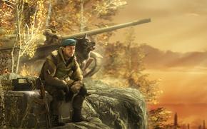 Picture dog, special forces, rendering, Kalash, Kalashnikov, soldiers, tank, forest
