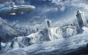 Picture winter, sea, snow, mountains, the city, ship, art, ice, igor staritsin
