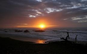 Picture sea, beach, the sun, sunset, clouds, stones, caraga