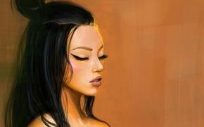 Picture face, eyelashes, hairstyle, Asian, art, closed eyes, Nino Barateli