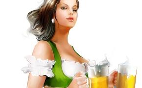 Picture look, girl, face, background, beer, mugs, painting, Tatiana Nikitina