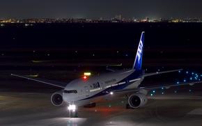 Wallpaper night, lights, Boeing, the plane, the airfield, passenger, 777-200