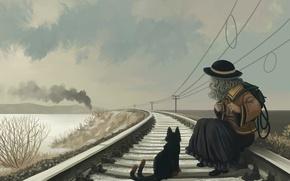Picture cat, girl, posts, rails, railroad