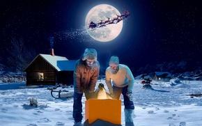 Wallpaper night, the moon, Christmas