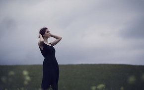 Picture girl, face, background, dress