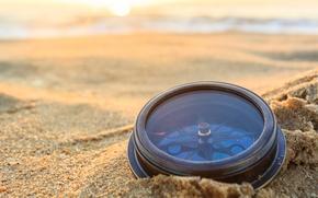 Picture sand, wave, the sun, macro, dawn, mechanism, blur, journey, compass, sun, sand, sunrise, bokeh, compass, …
