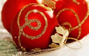 Wallpaper balls, holiday, balls, pattern, new year, Christmas, red, gold, christmas, new year, Christmas decorations