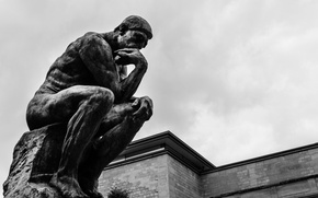 Picture black and white, male, sculpture, thinker