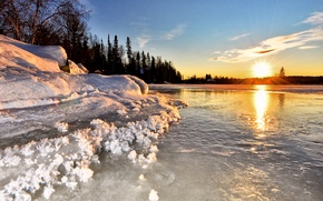 Picture Nature, Canada, Blue, Winter, Water, sunset, Snow, Lake, North, Cold