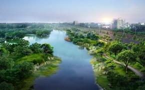 Wallpaper summer, road, Park, river, the city