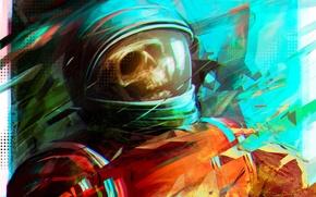 Picture skull, astronaut, the suit, art, Por-t-falatron, astro