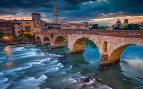 Wallpaper Italy, Verona, Verona, building, the Ponte Pietra, The Stone Bridge, the Adige river, Adige River, ...
