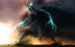 Picture colossus, home, storm, art, Zsolt Kosa