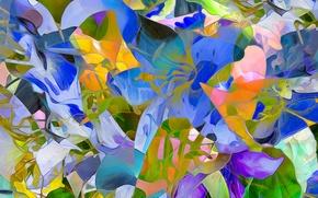 Picture field, line, flowers, rendering, petals, meadow