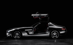 Wallpaper black, Mercedes, side view, AMG SLS63