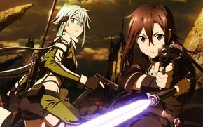 Picture gun, rifle, guy, Kirigaya Kazuto, Sword Art Online, cloudy sky, Kirito, ruins, art, Abec, Shino …