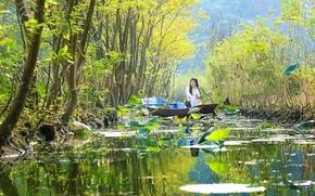 Wallpaper girl, trees, boat, pond