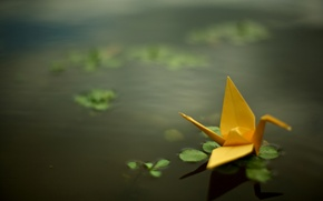 Wallpaper pond, crane, origami