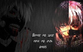 Picture metal, blood, quote, Tokyo Ghoul, Ken Kanek