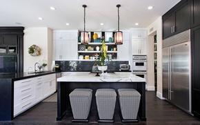Picture design, furniture, Villa, kitchen, dishes, black, Design, White, lamps, Kitchen