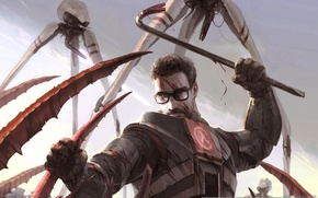 Picture blood, glasses, monsters, male, battle, half-life 2