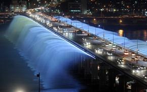 Picture night, bridge, lights, fountain, Seoul, South Korea, Rainbow fountain