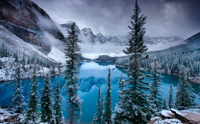 Wallpaper ice, snow, mountains, lake, spruce, Canada, Canada, Moraine Lake, Valley of the Ten Peaks, Moraine, ...