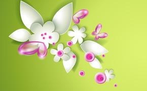Wallpaper butterfly, flowers, flowers, butterflies, green abstraction, green abstraction