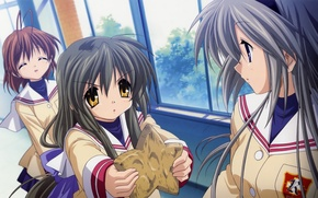 Picture cookies, window, emblem, clannad, school uniform, art, friend, kazumi ikeda, nagisa furukawa, tomoyo sakagami, moles ...