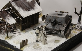 Picture house, toy, layout, soldiers, model, StuIG 33B, Assault gun