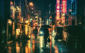 Picture people, rain, street, neon, umbrellas, cars, stores, city center, restaurants, city, lampposts