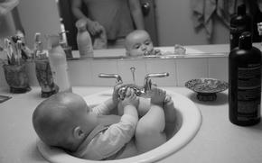 Picture children, child, bathing, bath
