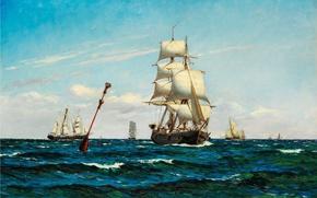 Picture sea, wave, ship, sails, carl locher
