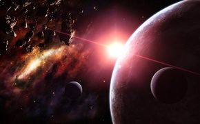 Picture stars, asteroids, Planet