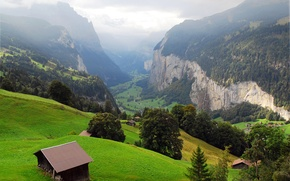 Picture trees, mountains, rocks, Switzerland, valley, slope, village, panorama, haze, houses, gorge, Lauterbrunnen
