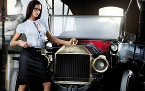 Picture Girls, a teacher, beautiful girl, standing next to Ford car, a pointer shows the name