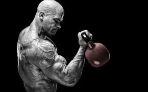 Wallpaper training, muscles, peeled, bodybuilder, muscular strength, power, Russian barbell