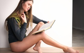 Picture girl, legs, the beauty, reading