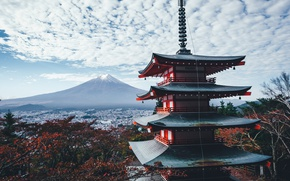 Wallpaper Japan, autumn, the sky, clouds, house, mountain