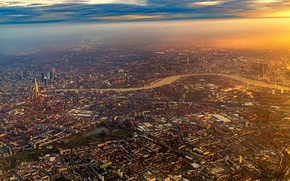 Picture City, Flight, Sky, Sunrise, London, Airplane, Flying, England, Plane, Fly