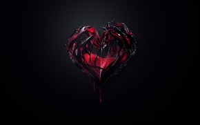 Picture abstraction, background, red, heart, paint, black, minimalism