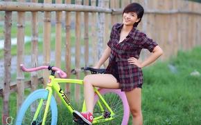 Picture summer, girl, bike, smile, Asian